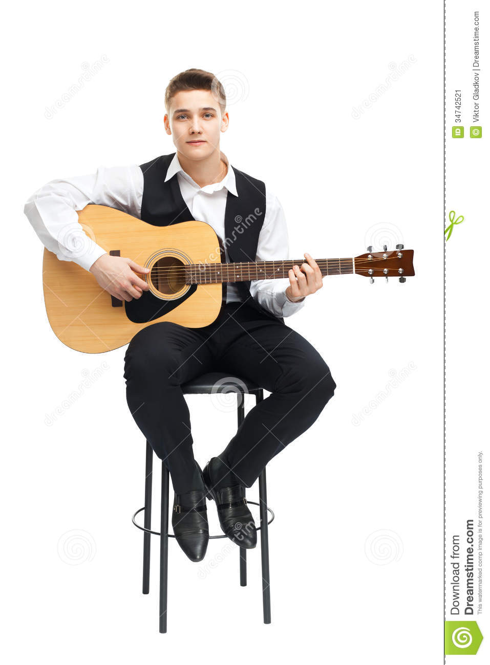 guitar playing chair wedding rental young man on stock image of front arts 34742521