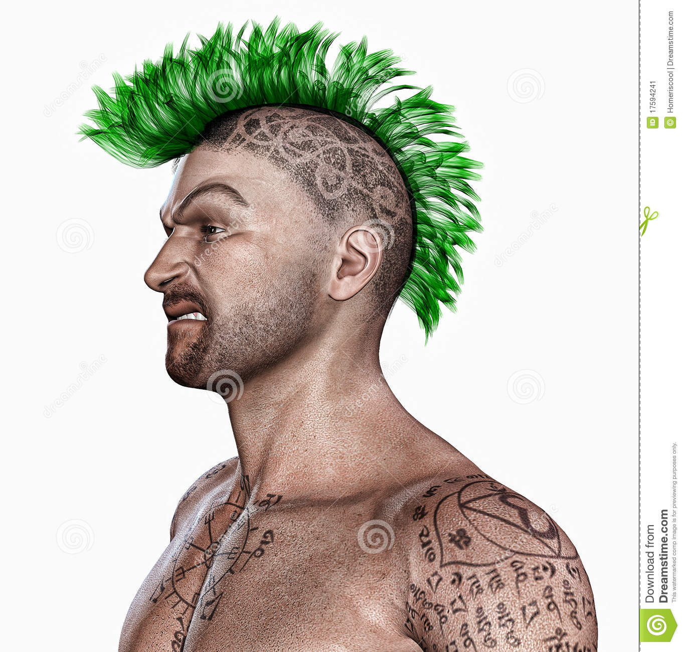 Young Man With A Punk Hair Style And Tattooes Stock