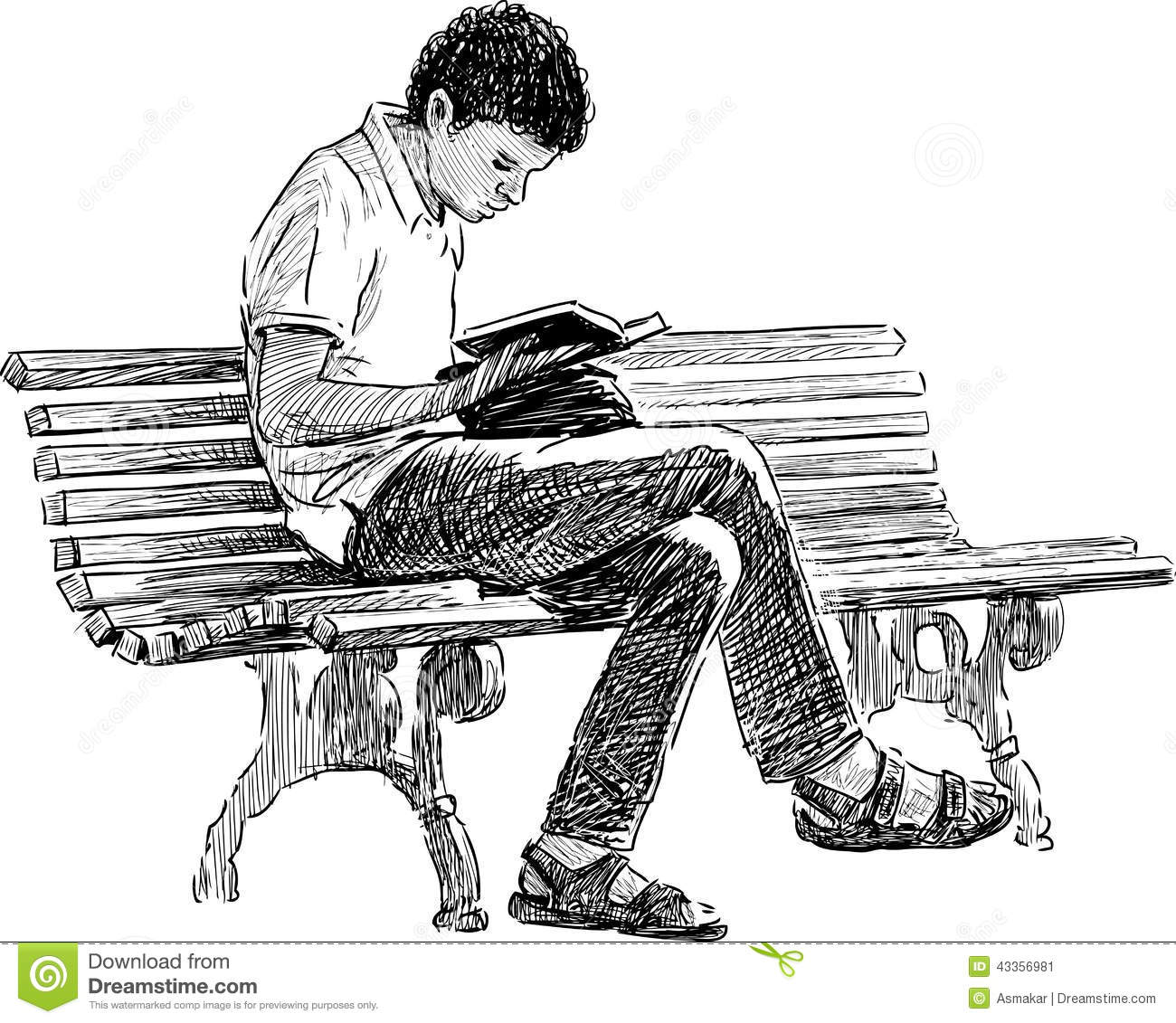 Young Man Reading Stock Vector