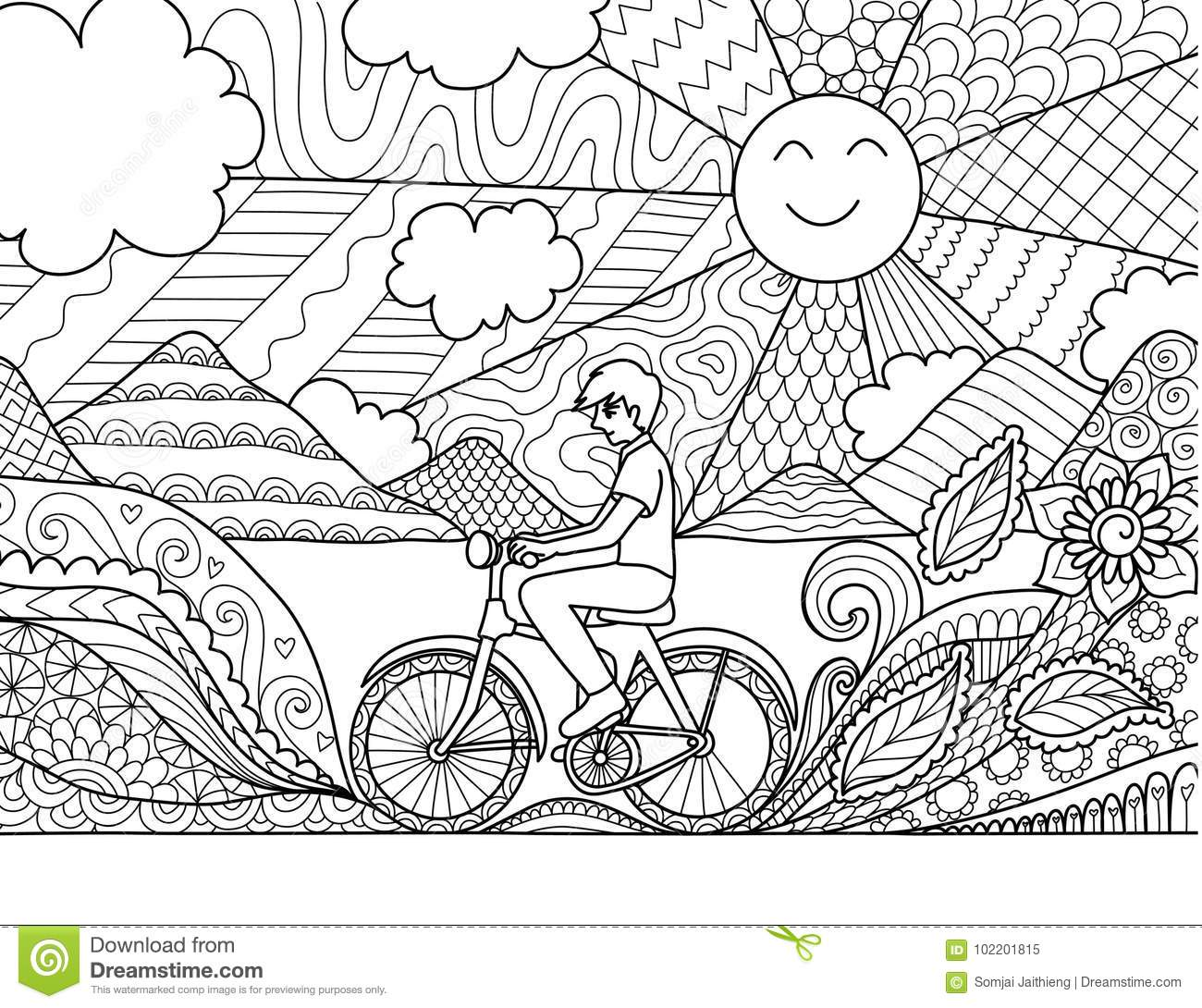 Young Man Riding Bicycle Happily In Beautiful Nature For