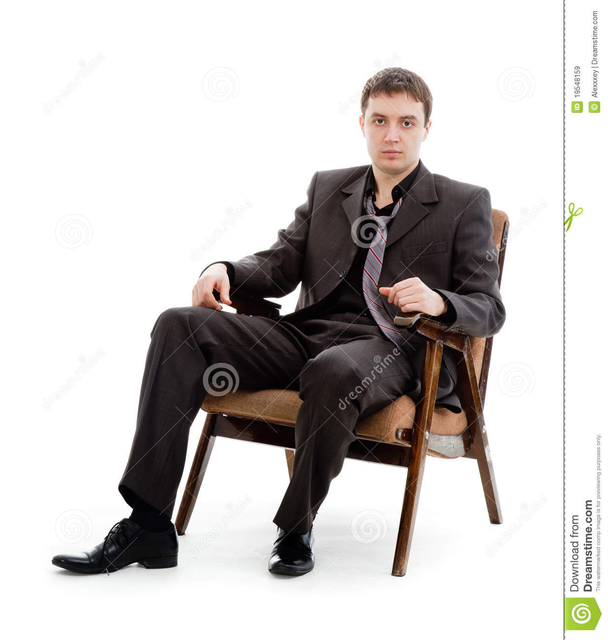 sit in your chair composite adirondack rocking chairs a young man suit and tie sitting stock