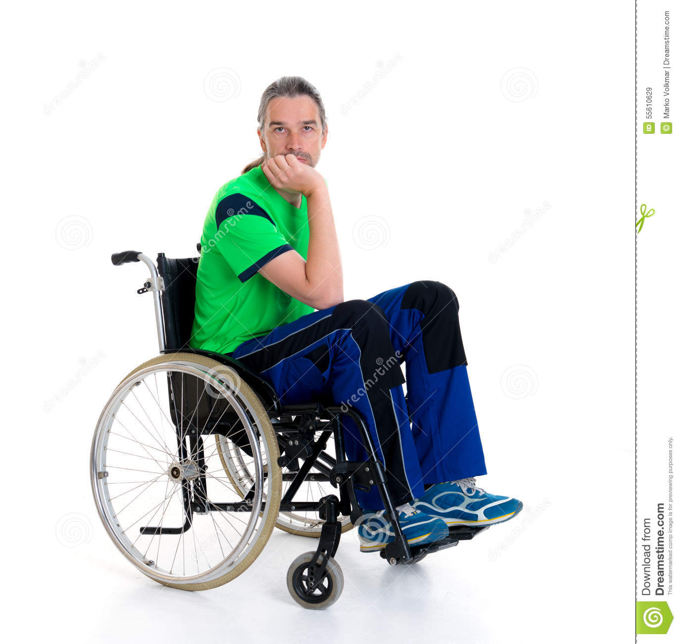 wheelchair man big kahuna chair young in a is sad stock image of