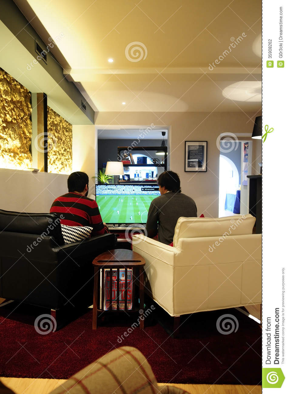 living room with carpet designs brown sofas young men playing fifa - video games friends_fun ...