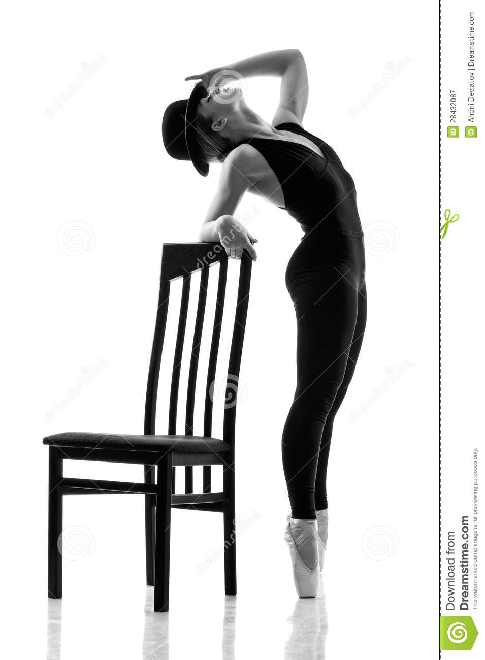 modern slipper chair pub height chairs young ballet dancer posing nearthe stock image - image: 28432087