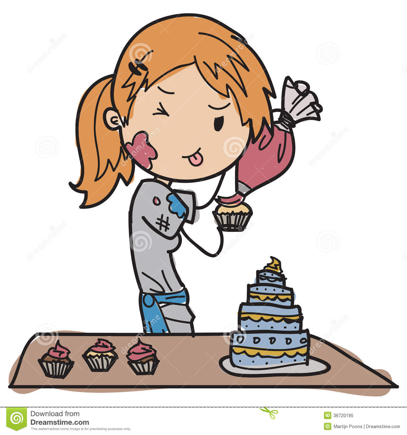 Chef Decorating Cake Clip Art