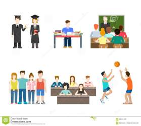 Young People At School University College: Student Education Stock Vector Illustration of graduate student: 59052469