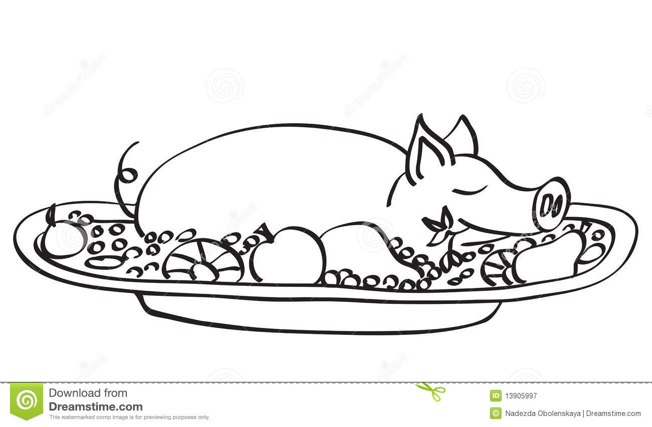 Young Pork Contour Stock Vector Illustration Of Image