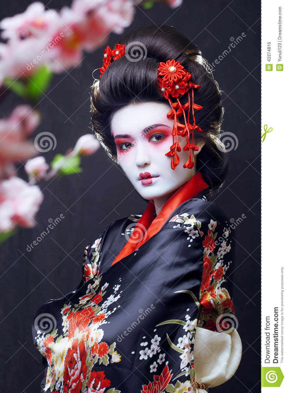 Young Pretty Geisha In Kimono Stock Photo Image Of