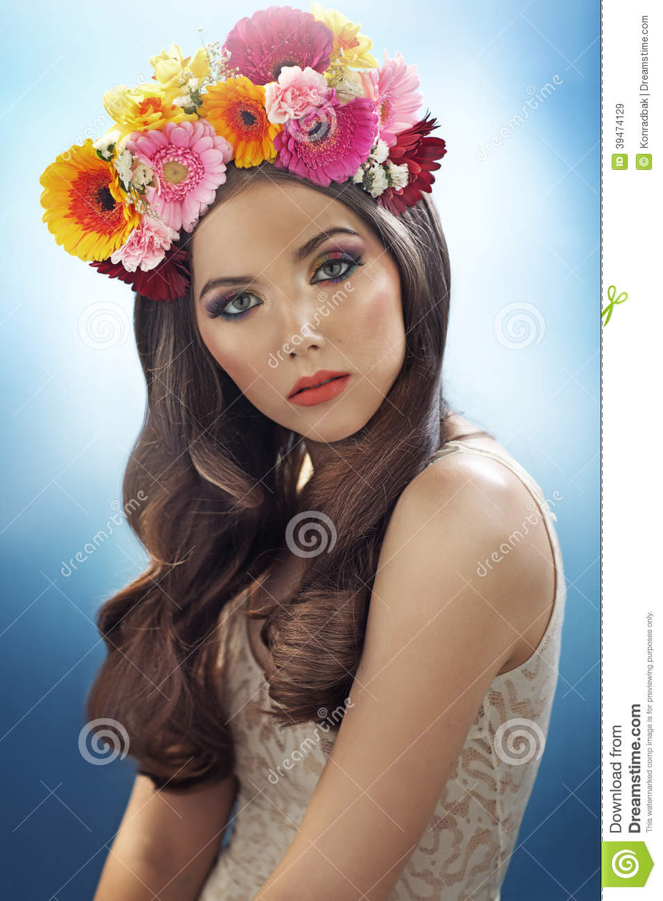 Young Pretty Girl With The Flower Hat Stock Photo Image