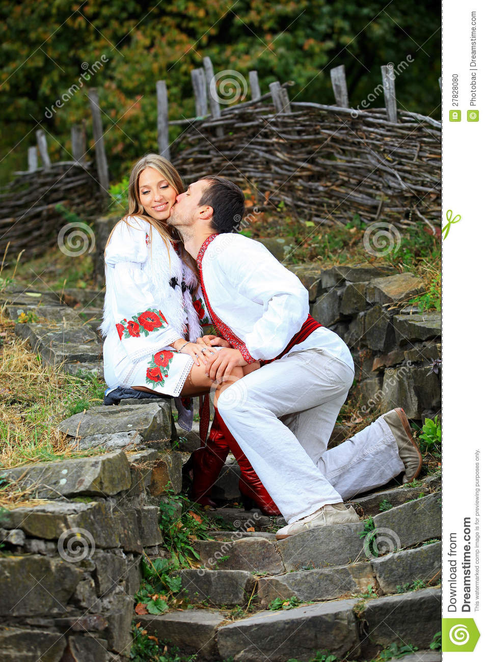 Young Romantic Couple In Ukrainian Style Clothes Outdoors Stock Photo  Image 27828080