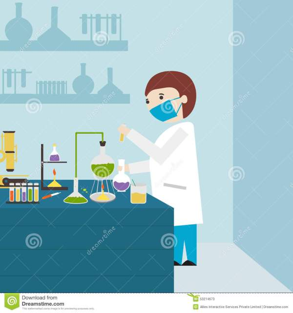 Young Scientist In Chemical Lab. Stock Illustration
