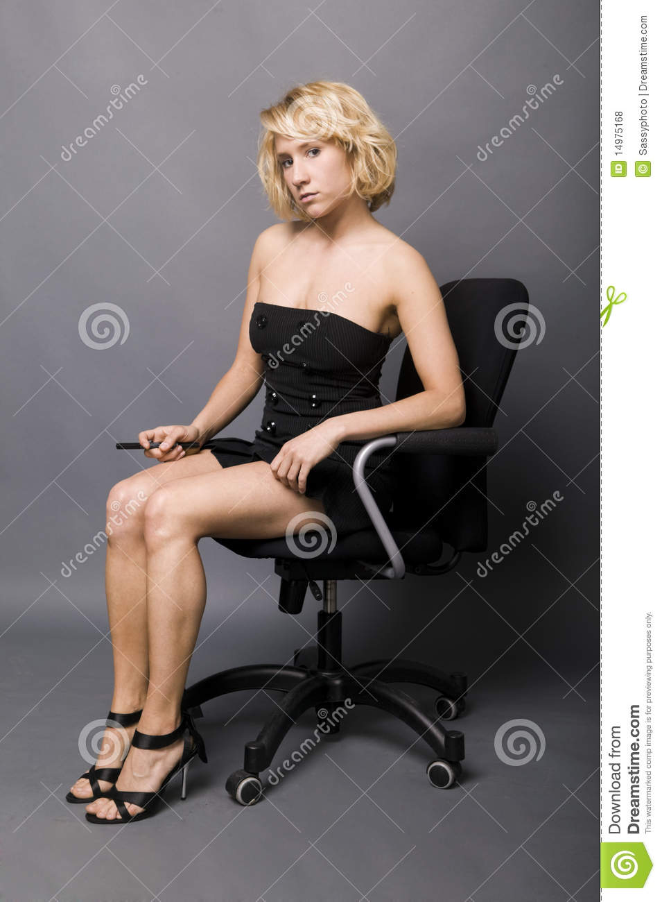 office max chair overstock dining room chairs young secretary sitting on an stock photo - image of lifestyle, happy: 14975168