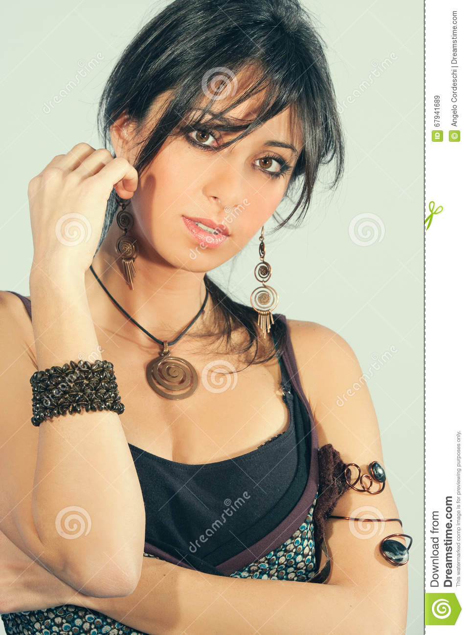 Young Sensual Italian Woman With Accessories Black Hair