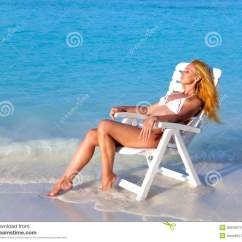 The Sex Chair Georgia Company Young Slender Girl In White Sexual Bikini A Beach