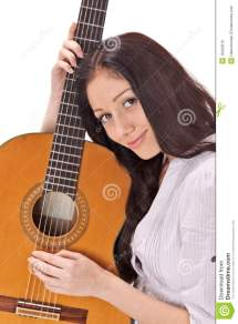 Lady Playing Acoustic Guitar