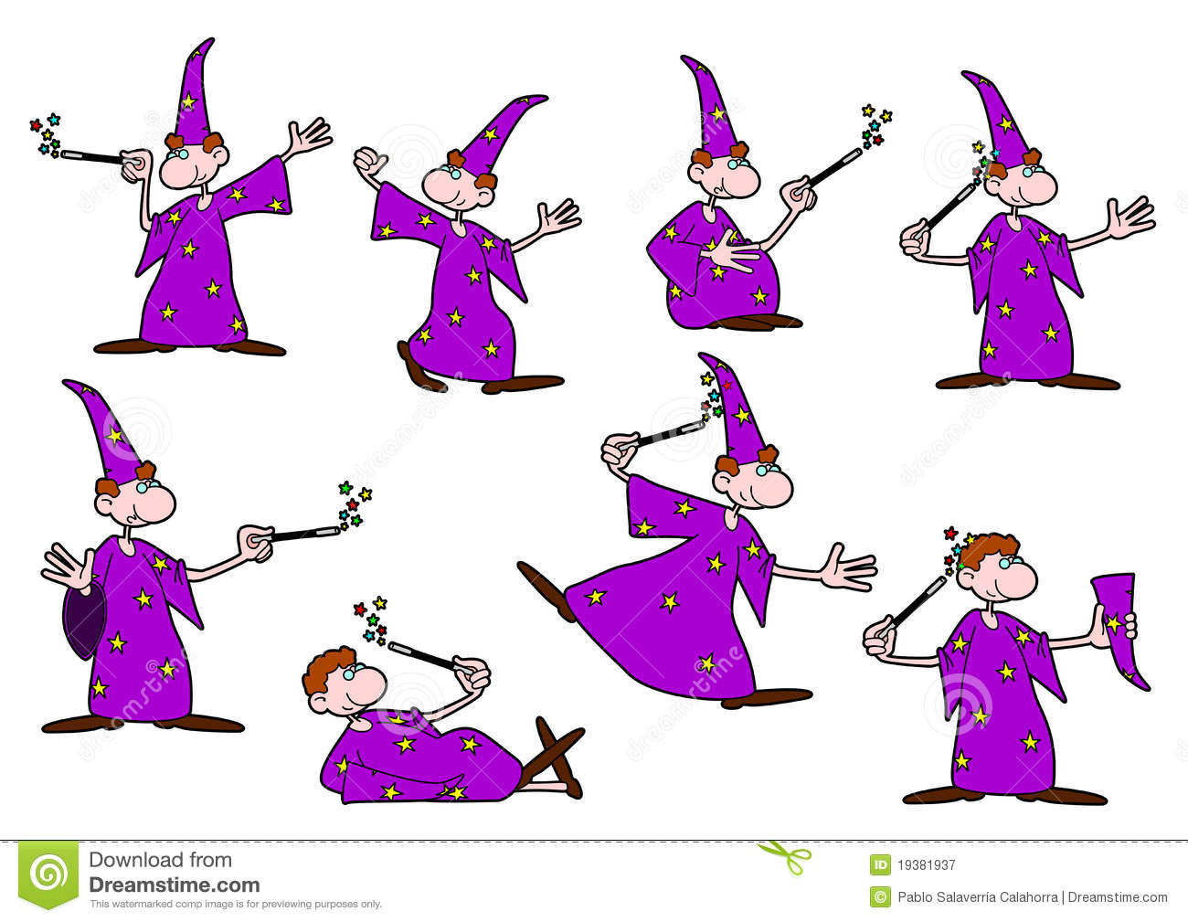 hight resolution of vector drawing of a young wizard in different positions