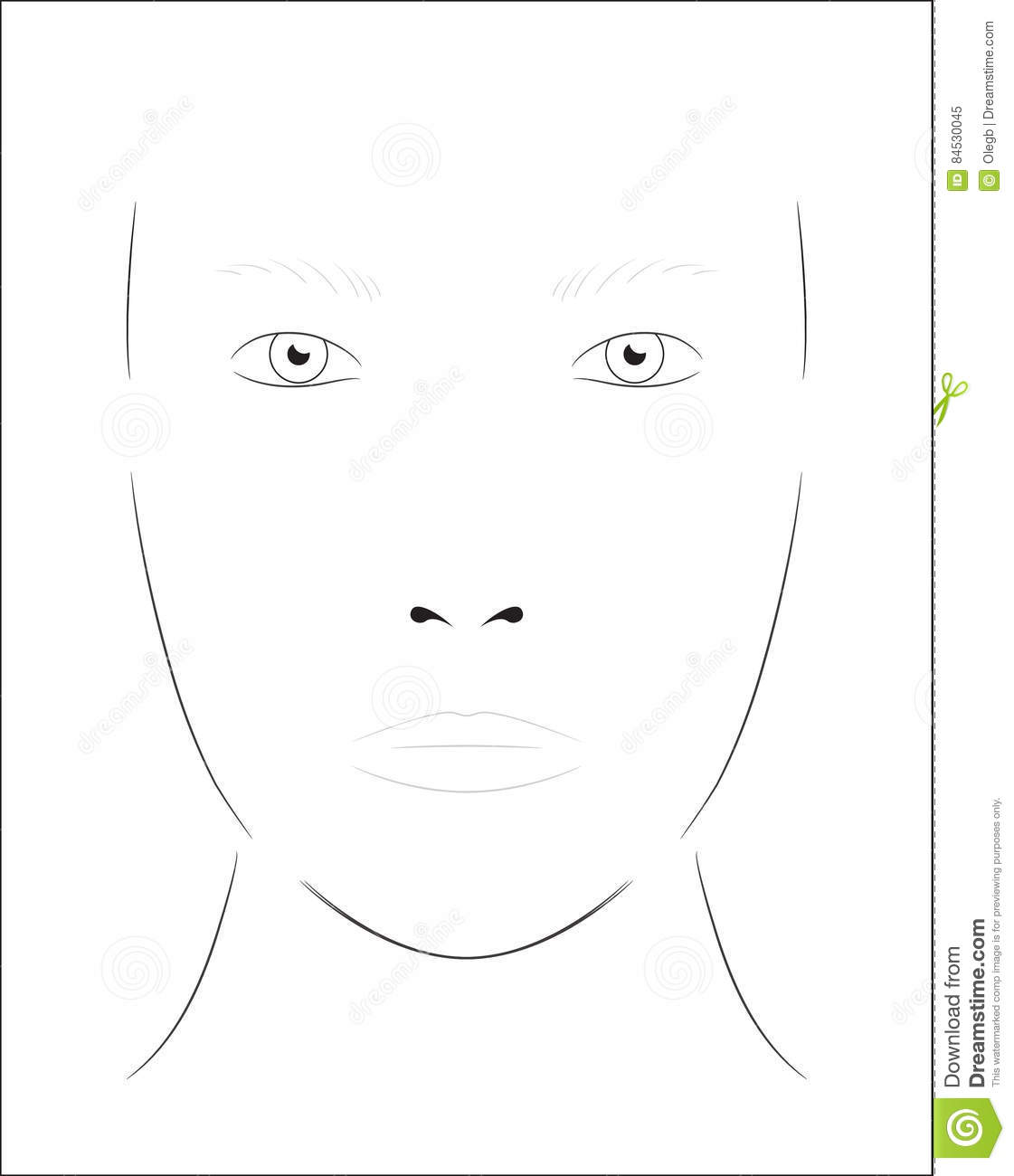 Young Woman Face Chart Makeup Artist Blank Template Stock Vector