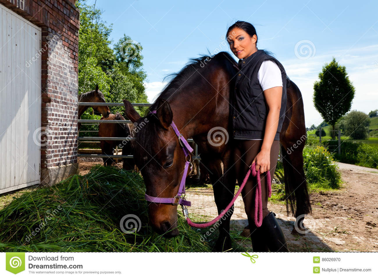 Young Woman On Horse Ranch Stock Photo  Image 86026970