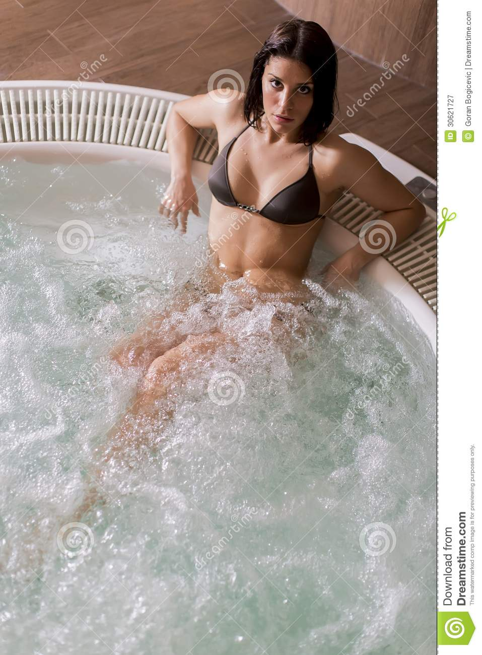 Young Woman In The Hot Tub Stock Image Image Of Bathroom