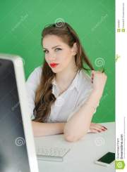 young woman desk