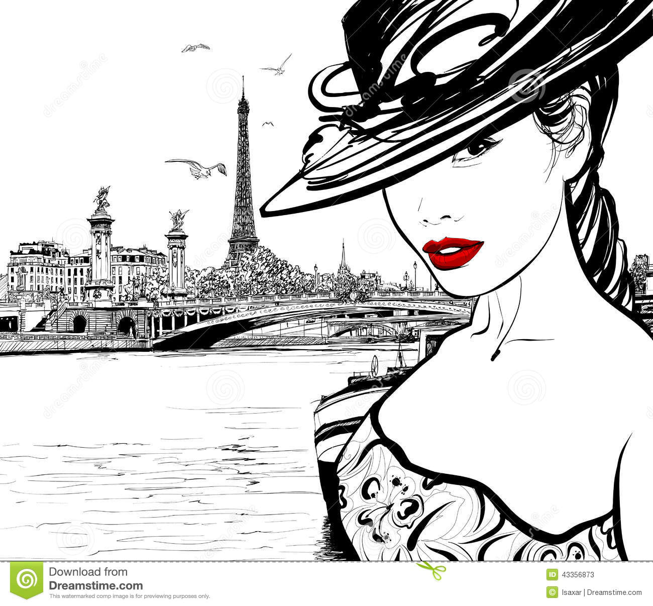 Young Woman Near The Seine River In Paris Stock Vector