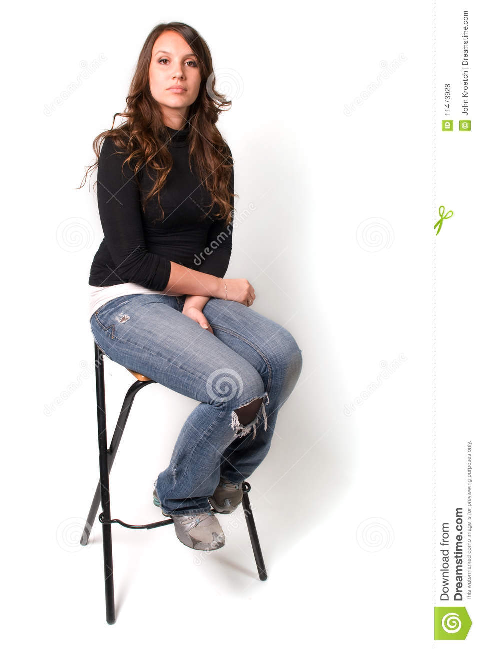 Young Woman Sitting On Stool Stock Photo  Image 11473928