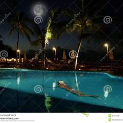 Living Room Pictures Clipart Pine Furniture Young Woman Swimming. Beautiful Night Pool Royalty Free ...