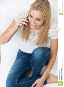 Young Woman Talking Mobile Phone Stock