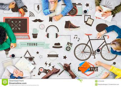 Youth Social Media Technology Lifestyle Concept Stock ...