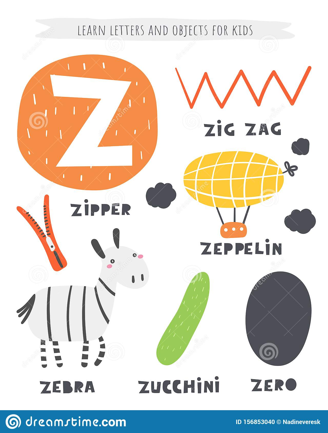 Z Letter Objects And Animals Including Zig Zag Zeppelin