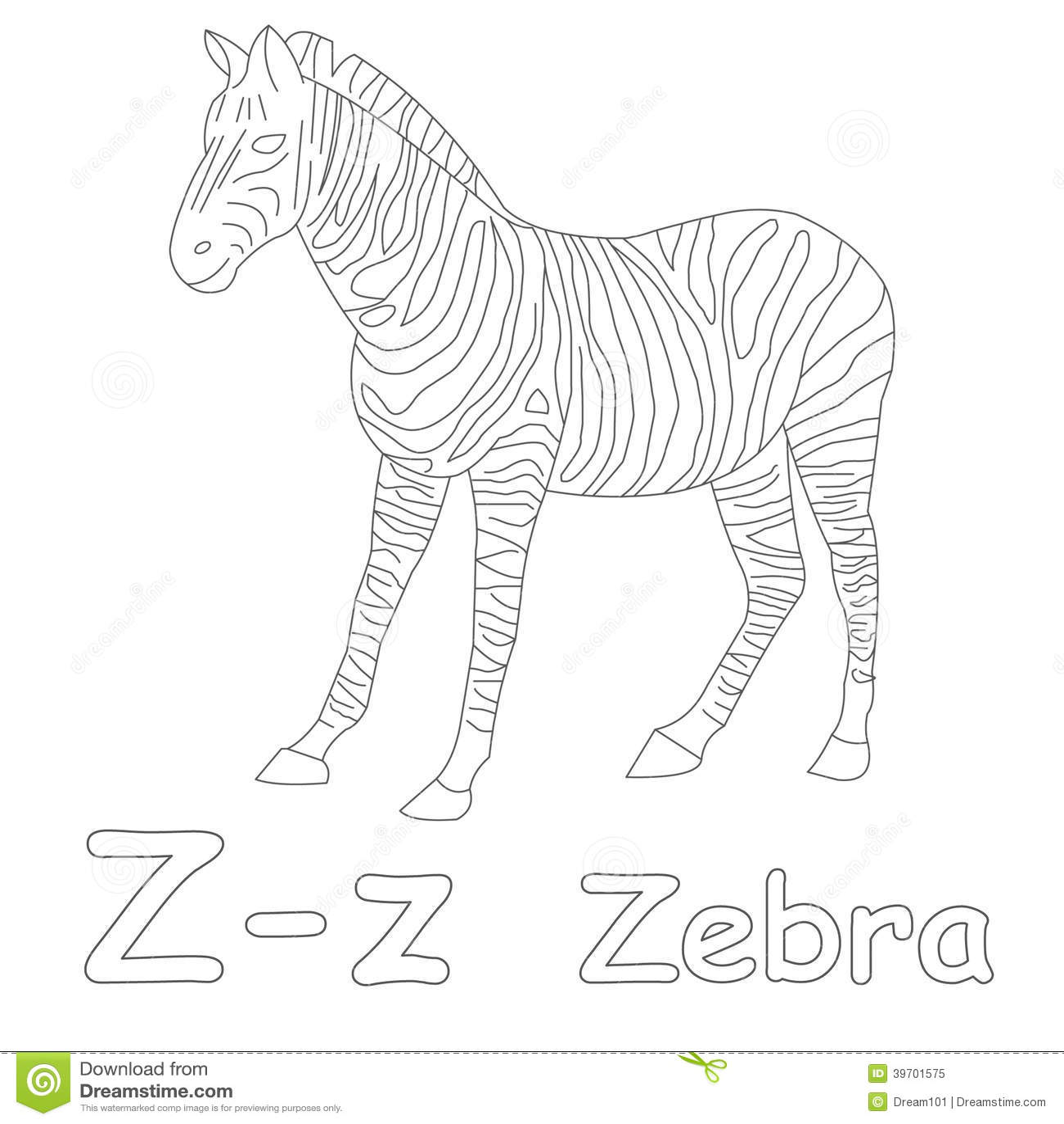 Z for Zebra Coloring Page stock illustration. Image of