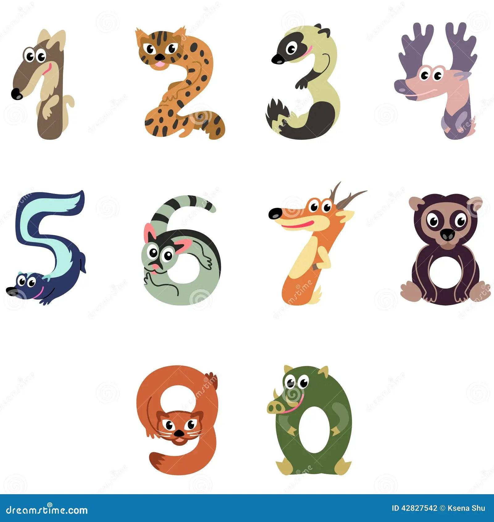 Zahlen Mogen Nordamerika Tiere Vektor Abbildung