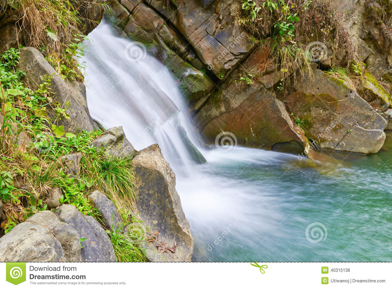 The Zaskalnik Waterfall Natural Source Of Water Stock