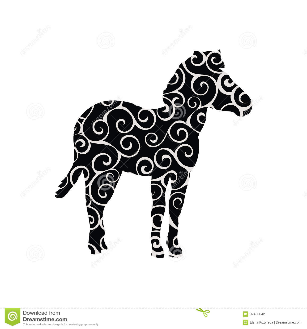 zebra mammal color silhouette animal stock vector