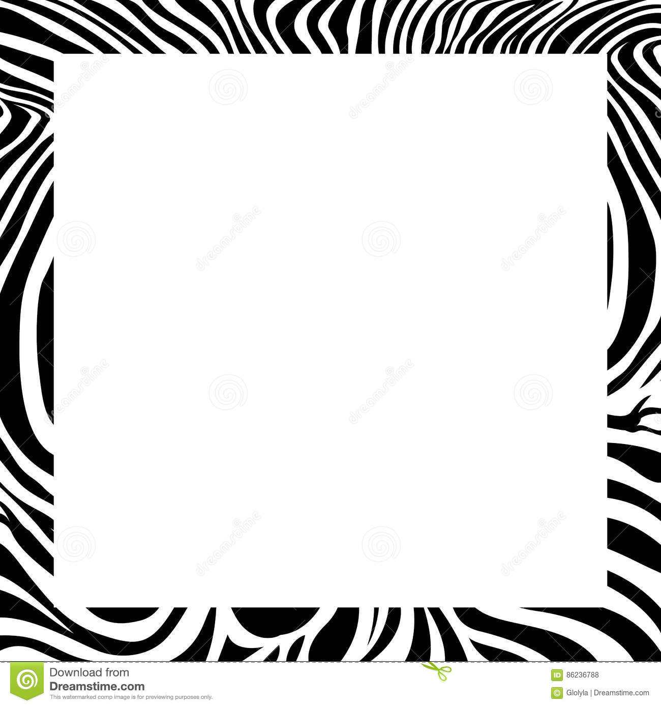 Zebra Print Border Frame Design Stock Vector