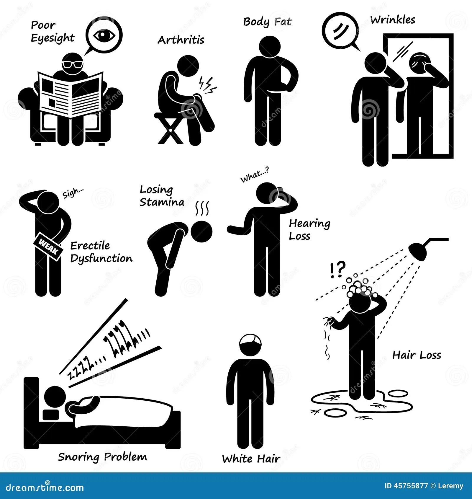 Zeichen Von Altern-Mann-Älterwerden-Symptome Cliparts