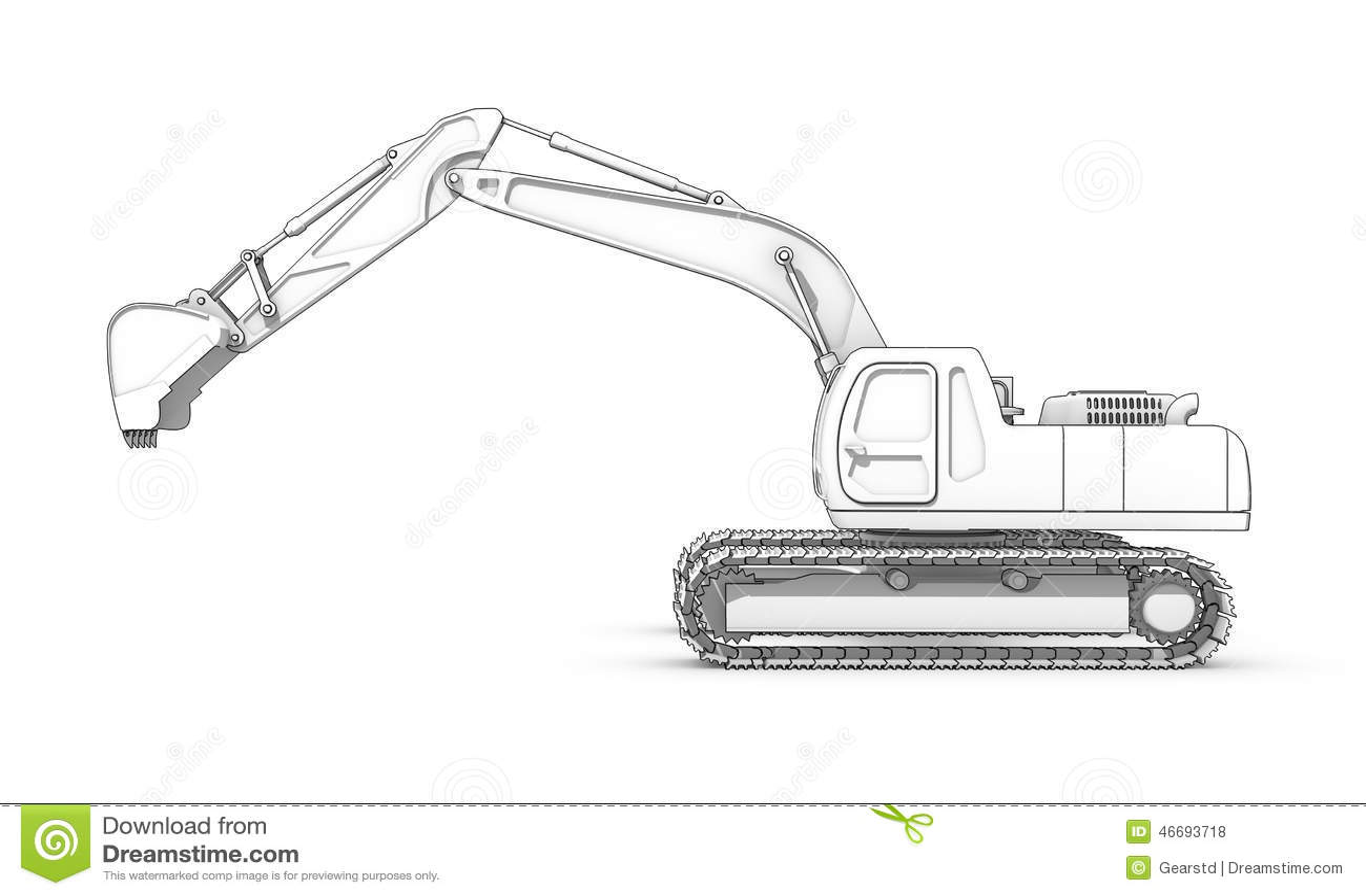 Zeichnen Schwarzweiss Skizze Des Baggers Stock Abbildung