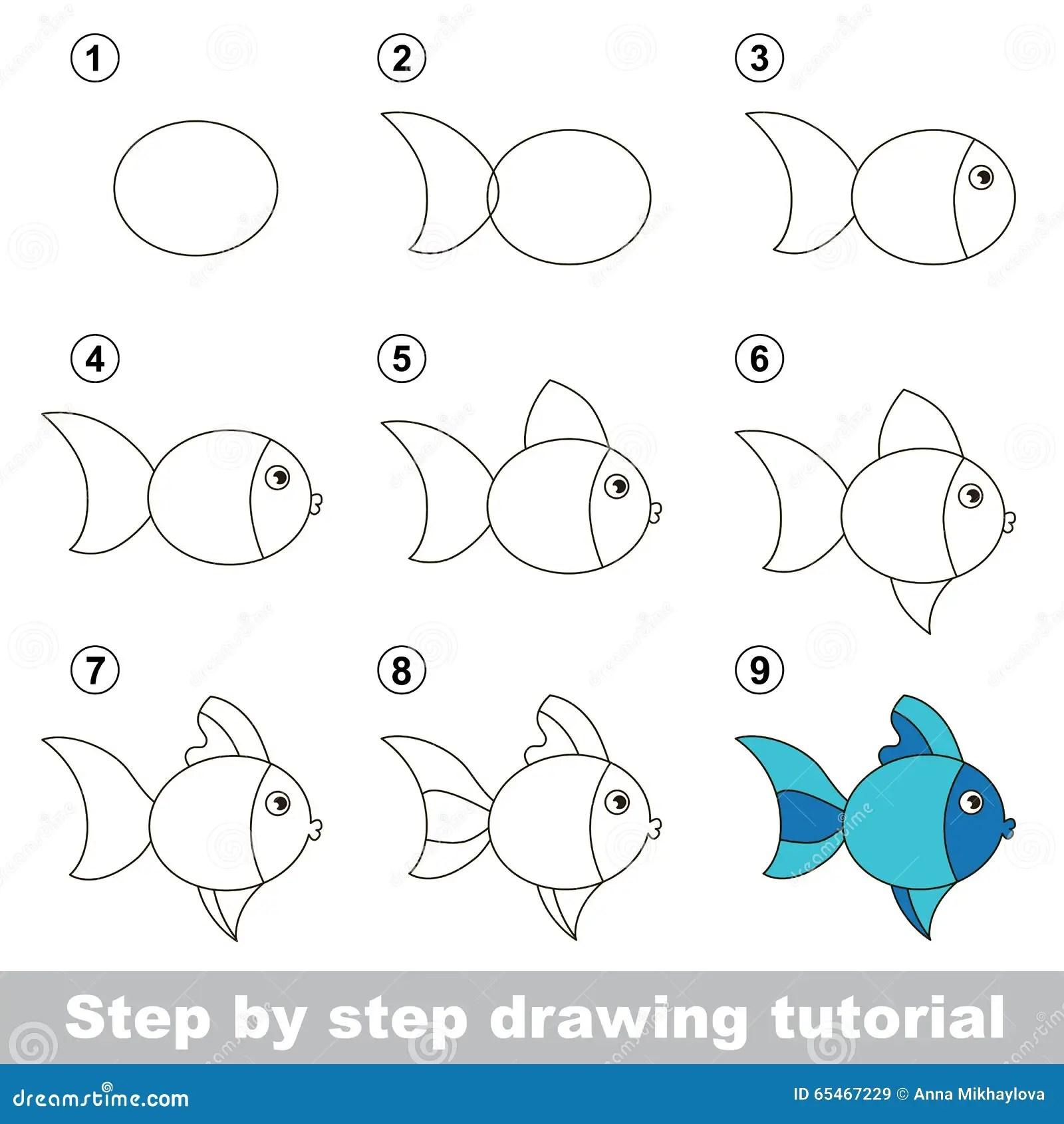 Zeichnendes Tutorium Wie Man Einen Netten Fisch Zeichnet