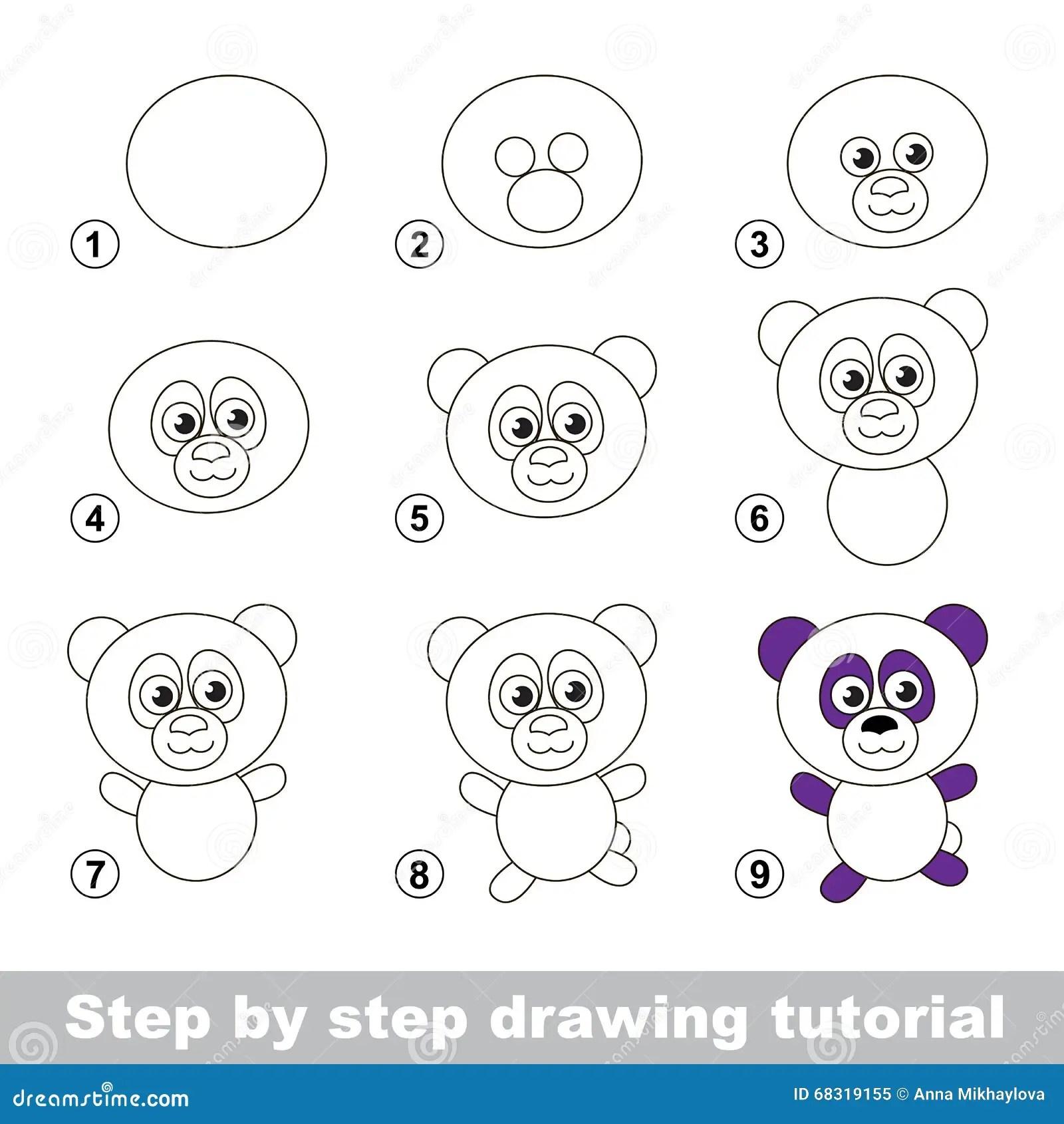 Zeichnendes Tutorium Wie Man Einen Panda Zeichnet Vektor