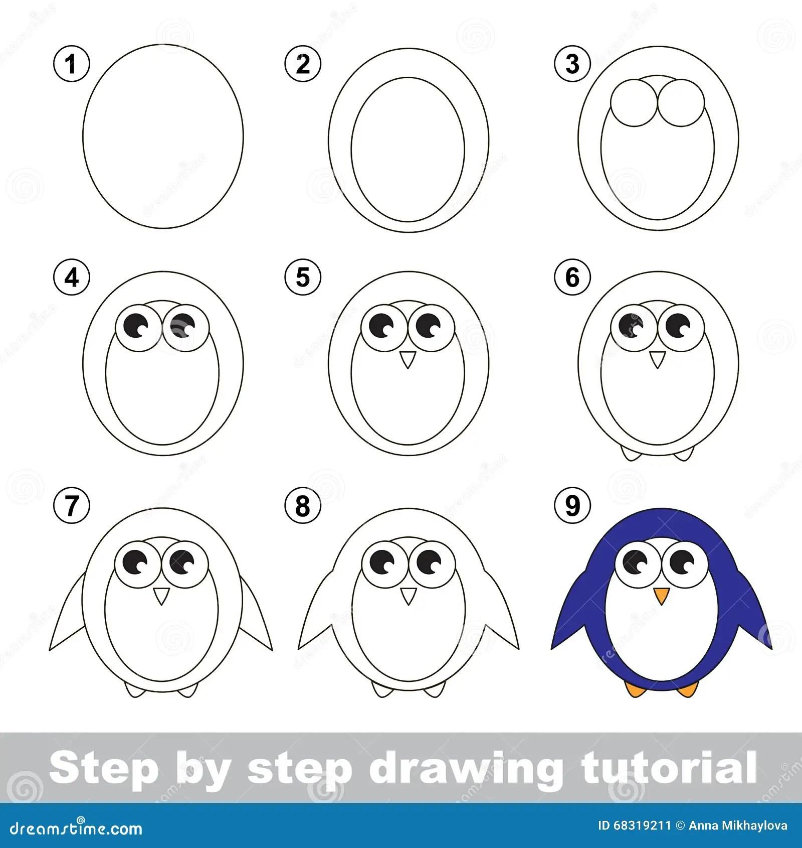 Zeichnendes Tutorium Wie Man Einen Pinguin Zeichnet Vektor