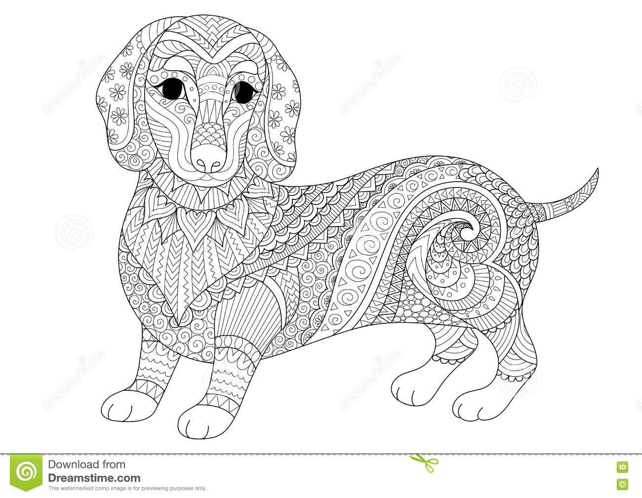 Zendoodle Design Of Dachshund Puppy For Adult Coloring