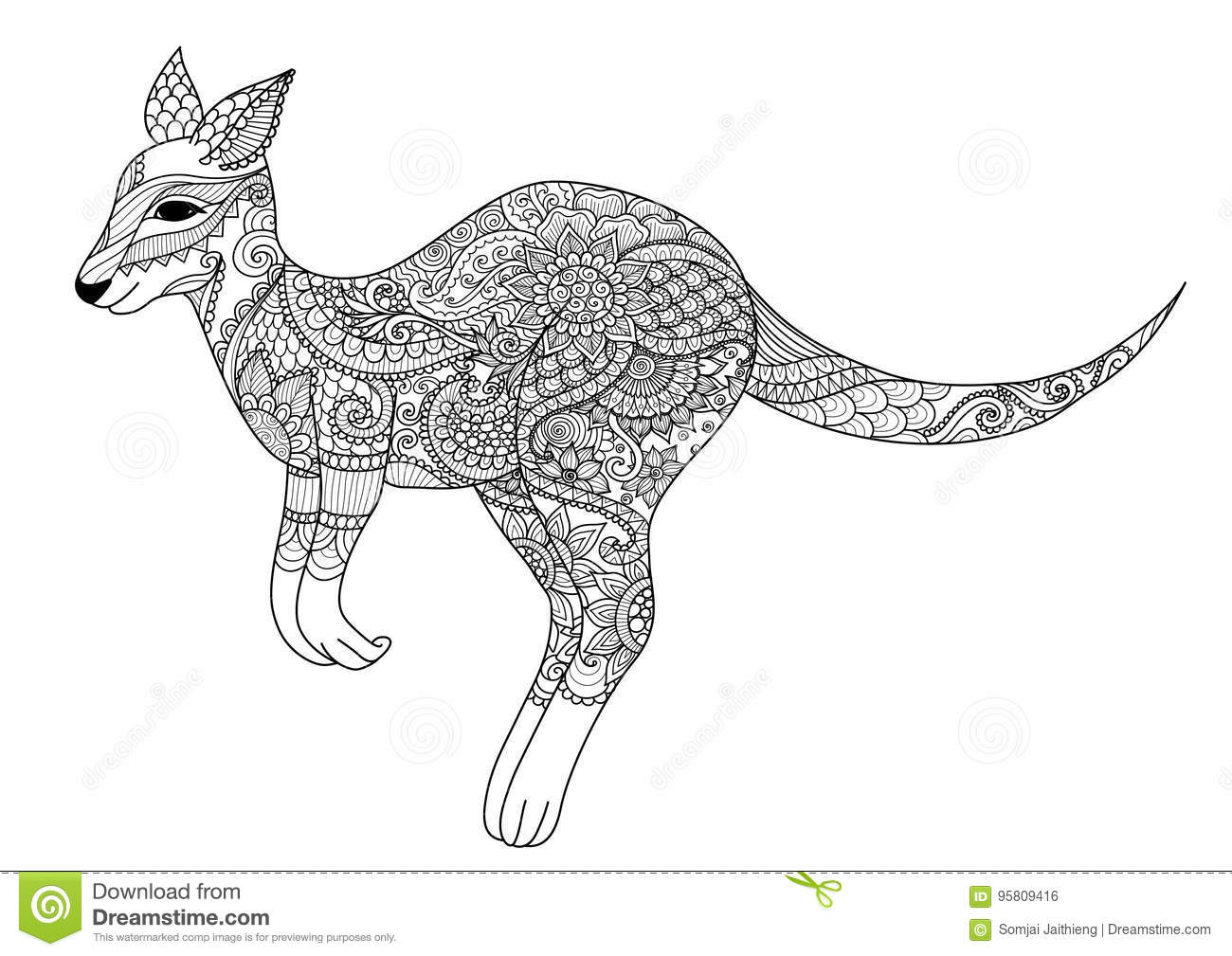 Silhouette Of A Kangaroo With Australian Designs Vector