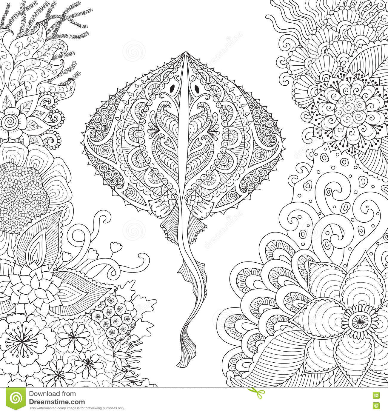 Zendoodle Of Stingray Swimming Among Beautiful Corals Under Water