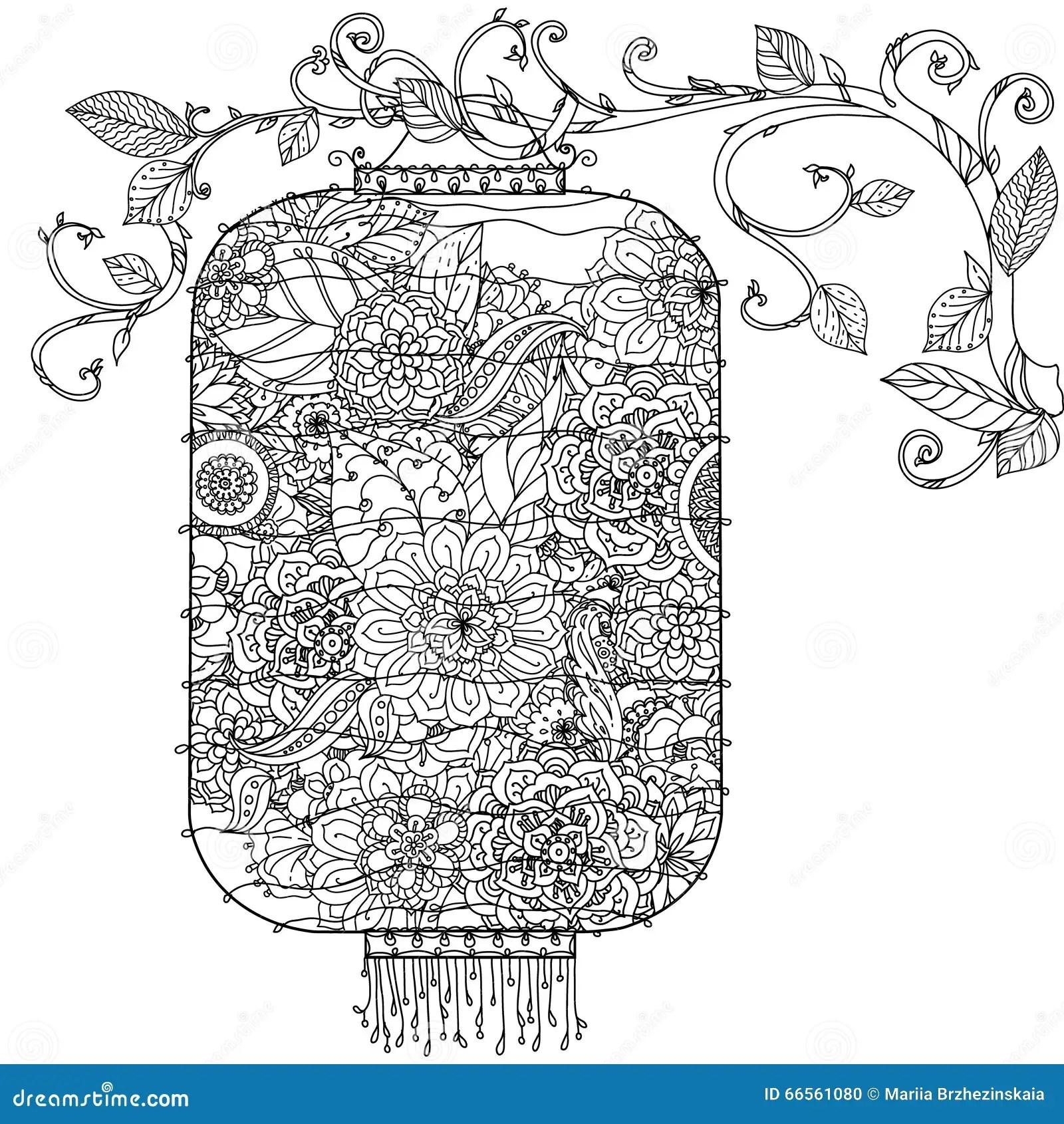 Zentagle Chinois De Lanterne Illustration De Vecteur