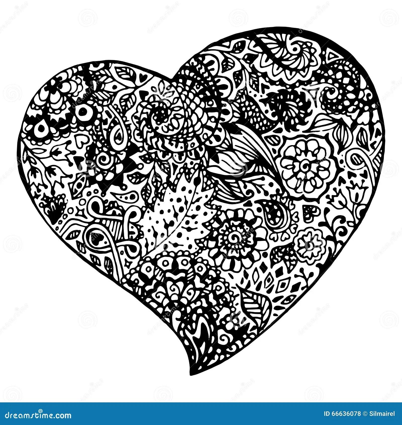 Zentangle Doodle Black Heart Ink Hand Drawn Vector