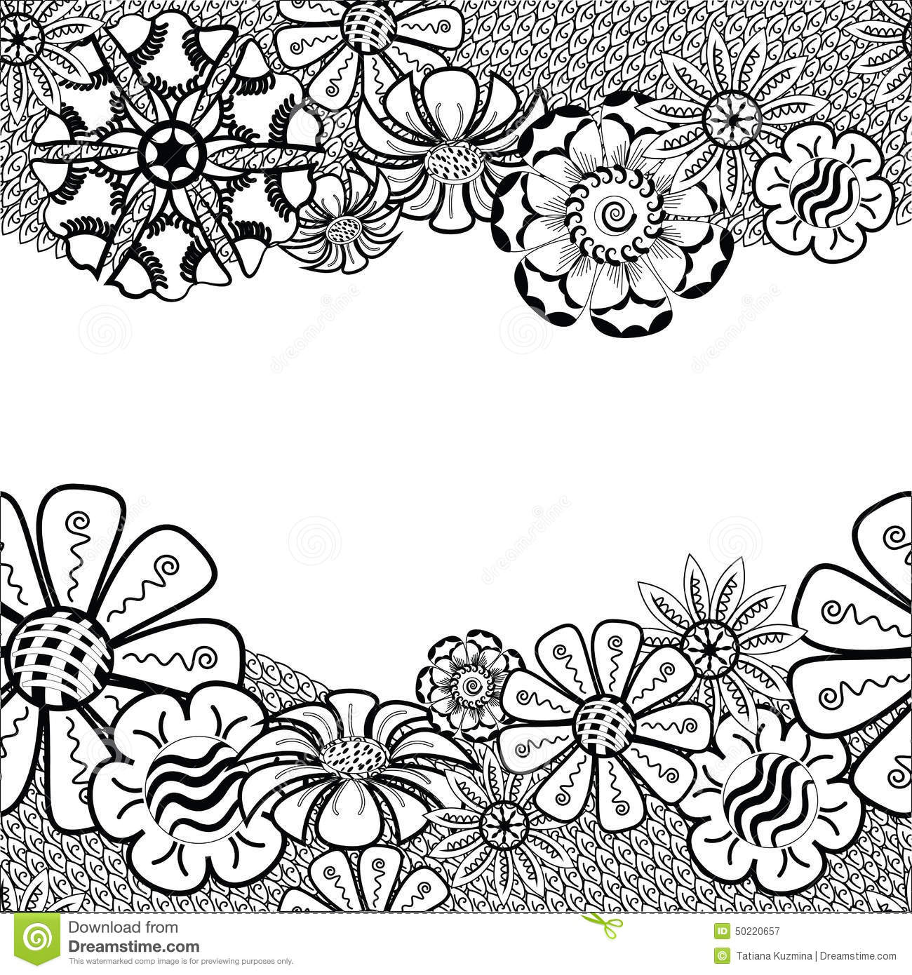 Zentangle Frame With Flower In Doodle Hand Drawn Stock