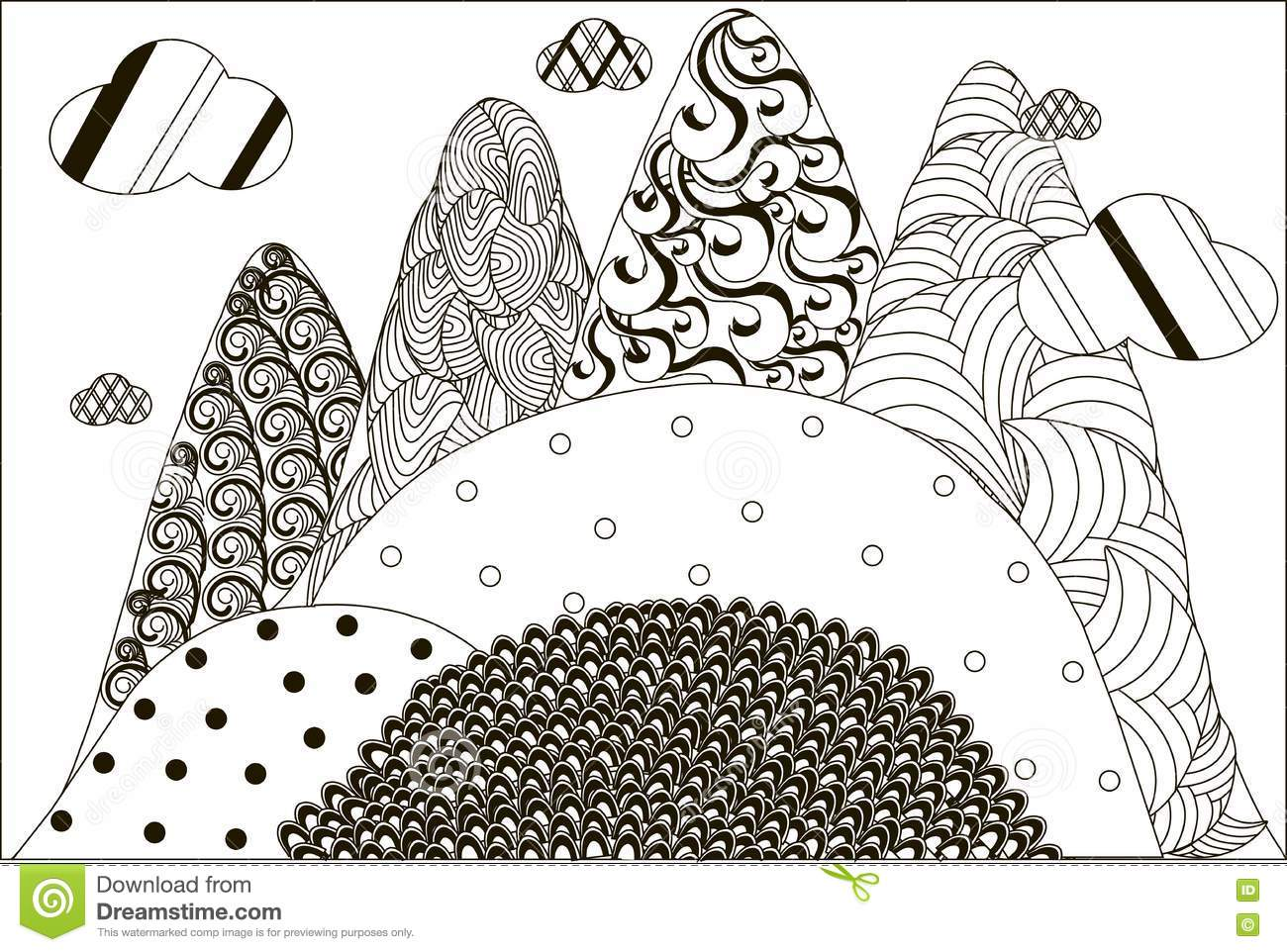 Zentangle Hand Drawn Black And White Mountain Landscape Anti Stress Stock Vector  Image 80808925