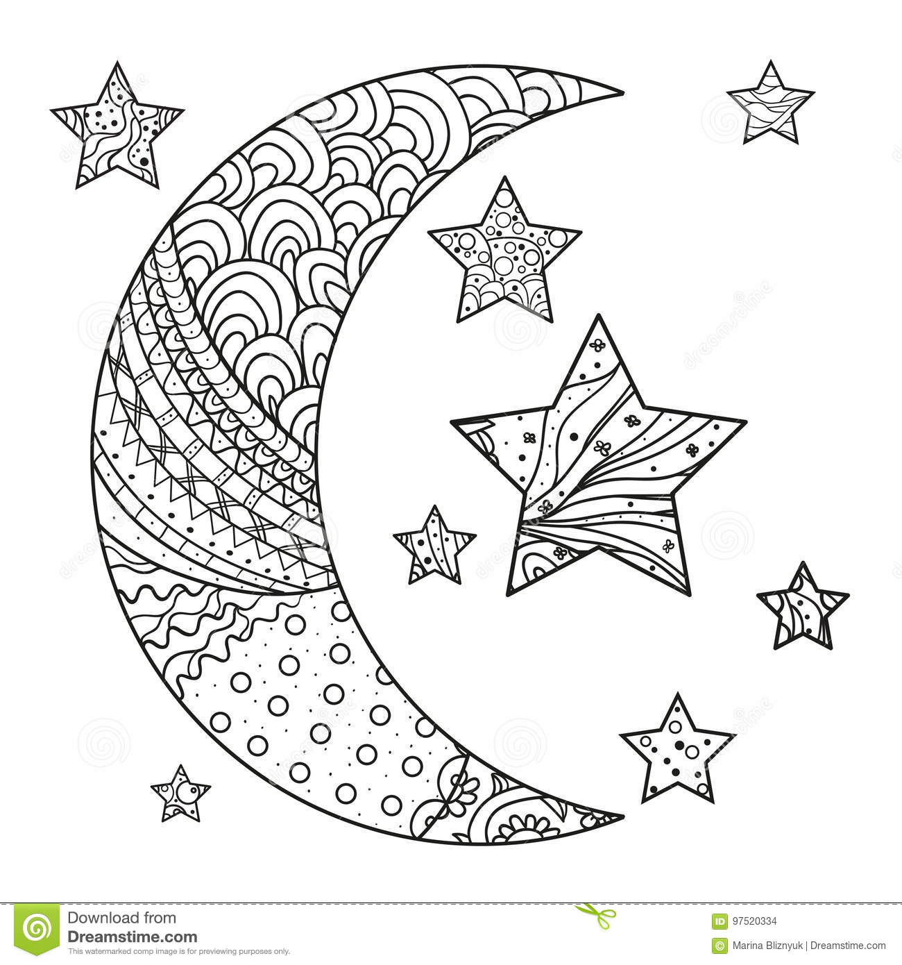 Zentangle Moon And Star With Abstract Patterns Stock