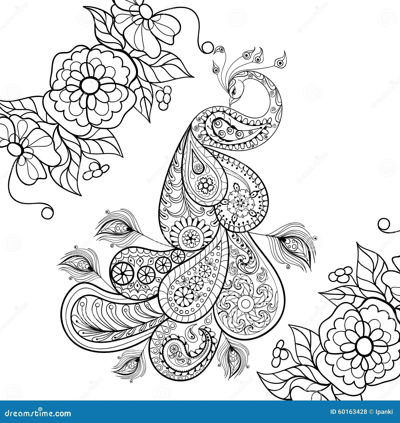 Zentangle Peacock Totem In Flowersfor Adult Anti Stress