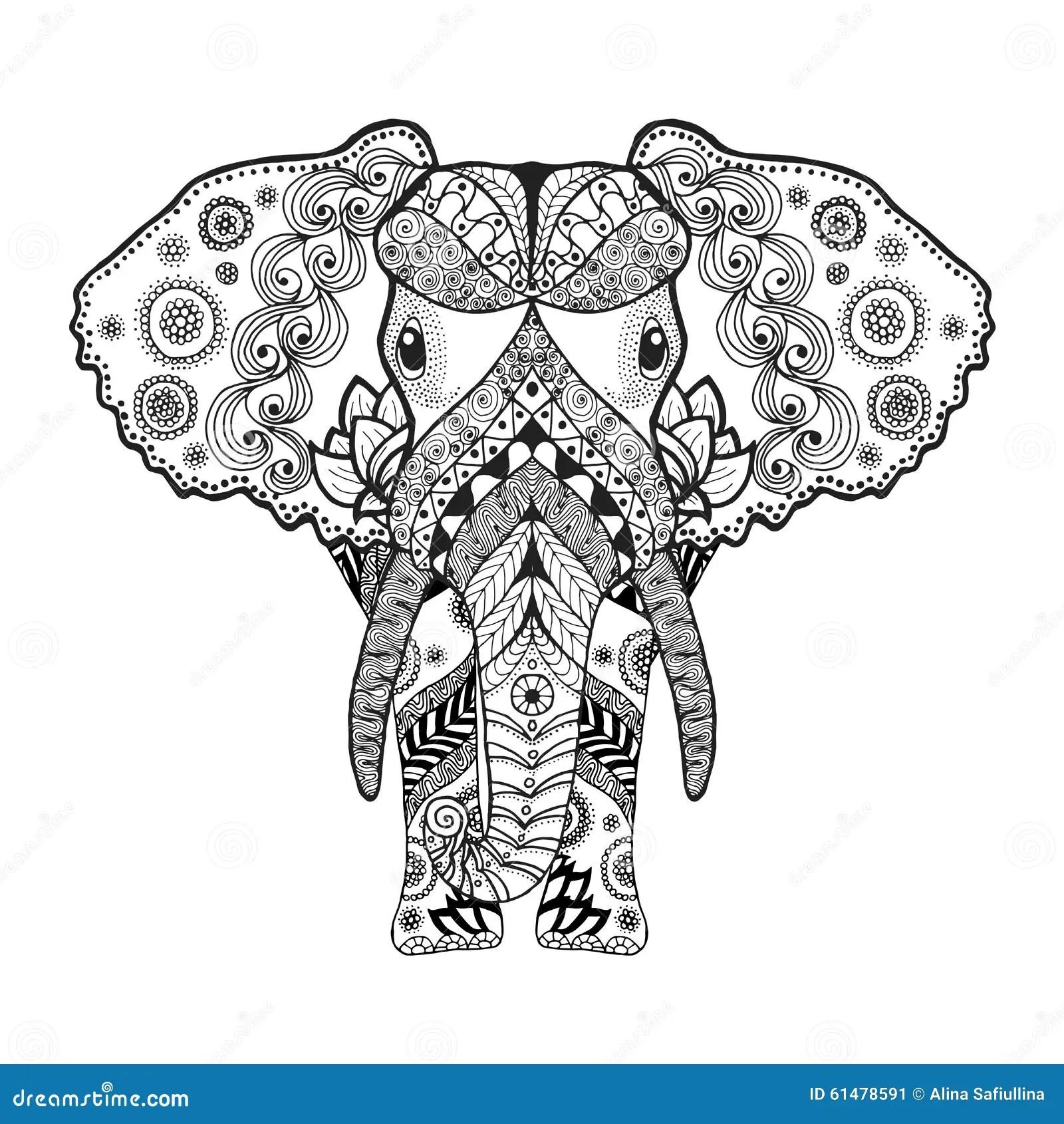 Zentangle A Stylise L Elephant Illustration De Vecteur